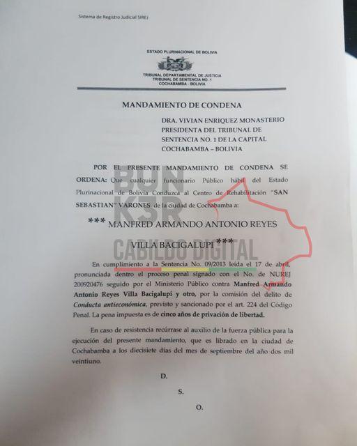 Emiten mandamiento de condena a Manfred Reyes Villa – deRedes.tv